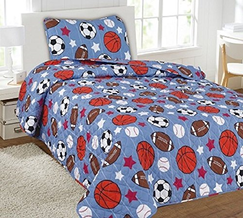 Game Day 5Pc Combo Set Quilt/Sheet Twin Bedding Bedspread Coverlet by Bedding Set (Image #1)
