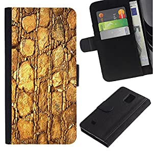 """Be-Star la tarjeta de Cr¨¦dito Slots PU Funda de cuero Monedero caso cubierta de piel Para Samsung Galaxy Note 4 IV ( Patr¨®n Oro de la textura del material de las rocas de piedra"""" )"""