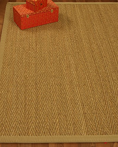 NaturalAreaRugs Natural Fiber Four Seasons Seagrass Rug - Sage/Khaki, Handcrafted, Cotton Border, Non-Slip Latex Backing, 8' x 10'