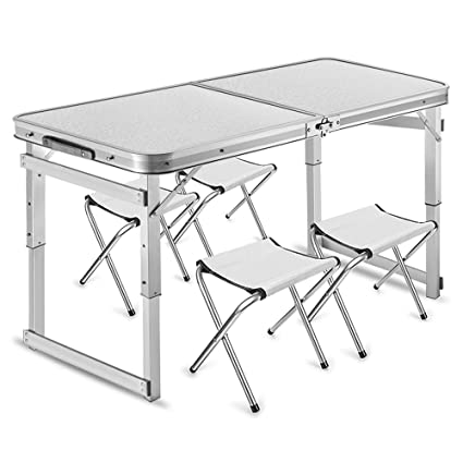 Folding table LVZAIXI Mesa Plegable portátil con 4 sillas ...