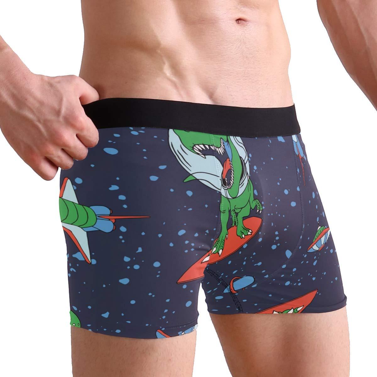 Mens Underwear Astronaut Dinosaur Boys Boxer Brief