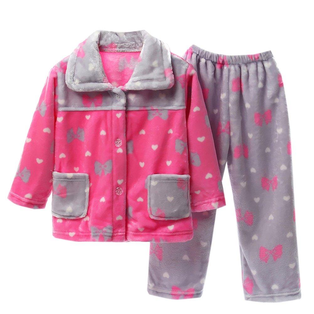 XUNYU Girls Boys Sleepwear Flannel Pajamas Set Fleece Womens Kids Homewear Nightgow