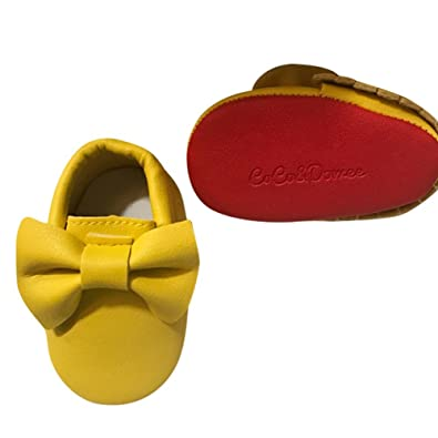 de15cd273467 Baby Girls Yellow Red Tassel Bow Soft Sole Faux Leather Crib Shoes 3-6M