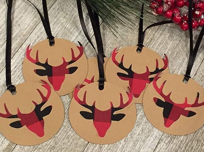 Christmas Gift Tags To Make.Amazon Com Red And Black Plaid Christmas Gift Tags Deer