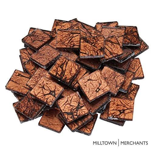 Milltown Merchants 3/4 Inch (20mm) Foil Mosaic Tile, 1 Pound (16 oz. Bag) (3 Pound, Bronze) (Hanging Tile Bronze)