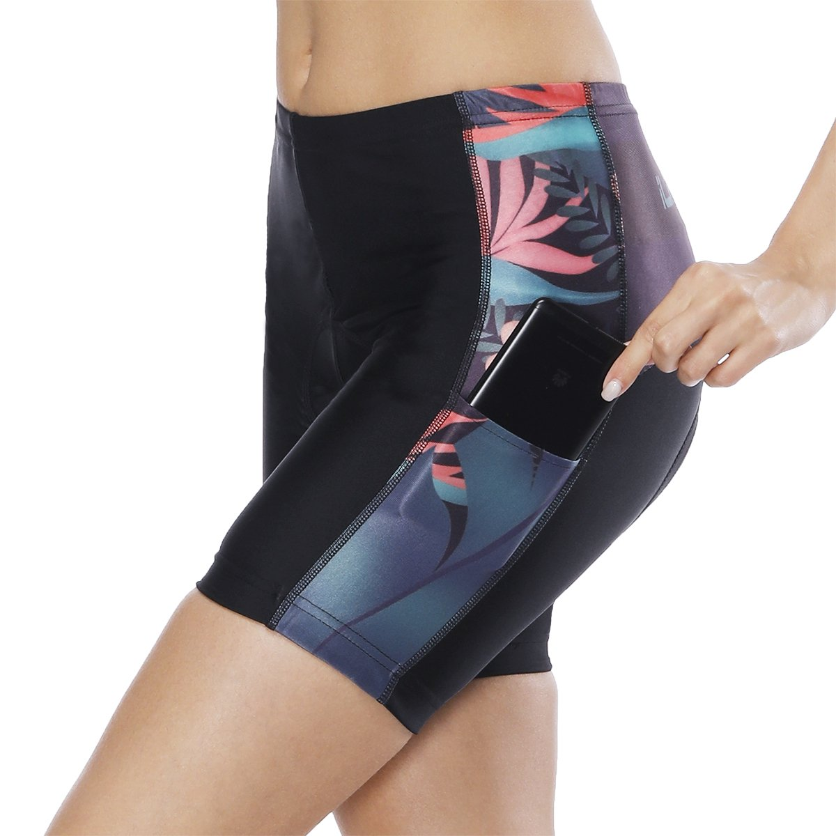 Womens Bike Shorts for Cycling with 3D Padded Pink Ride Women Cycling Shorts Black Flower S
