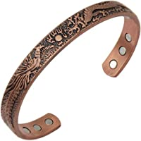 Antiquity Sian Art Red Copper Magnetic Cuff Bracelet for Men and Women - Dragon and Phoenix Lucky Copper Bracelet