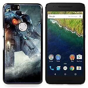"""Qstar Arte & diseño plástico duro Fundas Cover Cubre Hard Case Cover para Huawei Google Nexus 6P (Pacífico Rem Robot"""")"""