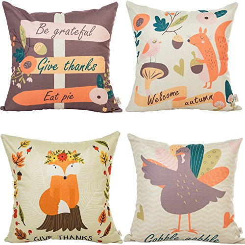 """HOSL 4 Pack GE01 Happy Thanksgiving Day Turkey Day Decorative Pillow Cover Case 18"""" X 18"""""""