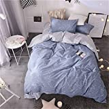 VM VOUGEMARKET Kids Twin Duvet Cover Set Blue, Lightweight Cotton Reversible Constellation Stars Printed Bedding Set,Striped Home Comforter Cover with Zipper-Twin,Constellation