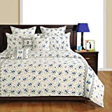 Yuga 8 Pieces Bed In Bag Set Printed White and Blue Cotton Material Comforter Bedding Set