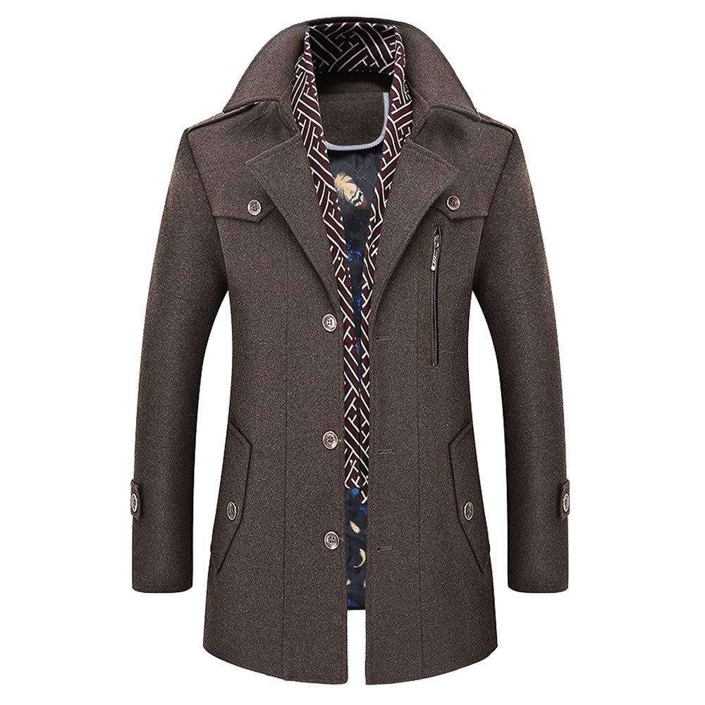 Mens Military Jacket Slim Fit.Mens Casual Wool Trench Coat Fashion Business Long Thicken Slim Overcoat Jacket