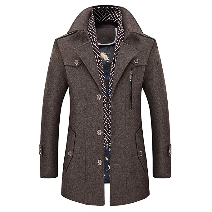 61eb1a9ac23 Mens Military Jacket Slim Fit.Men's Casual Wool Trench Coat Fashion ...