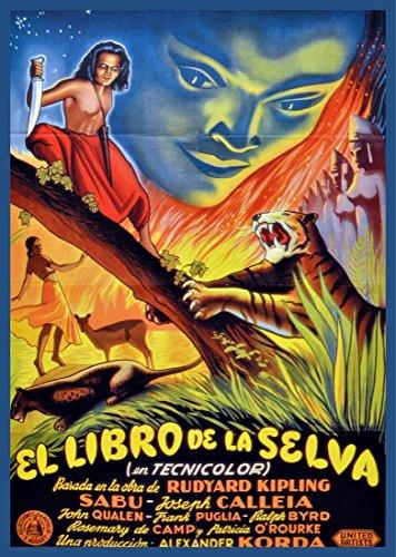 """18""""x24"""" Poster printed on Quality Canvas.El libro de la selva.Jungle's book in spanish"""