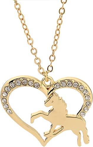Hollow Lucky Horse Jewelry Animal Pendants Heart Necklace Vintage Fashion
