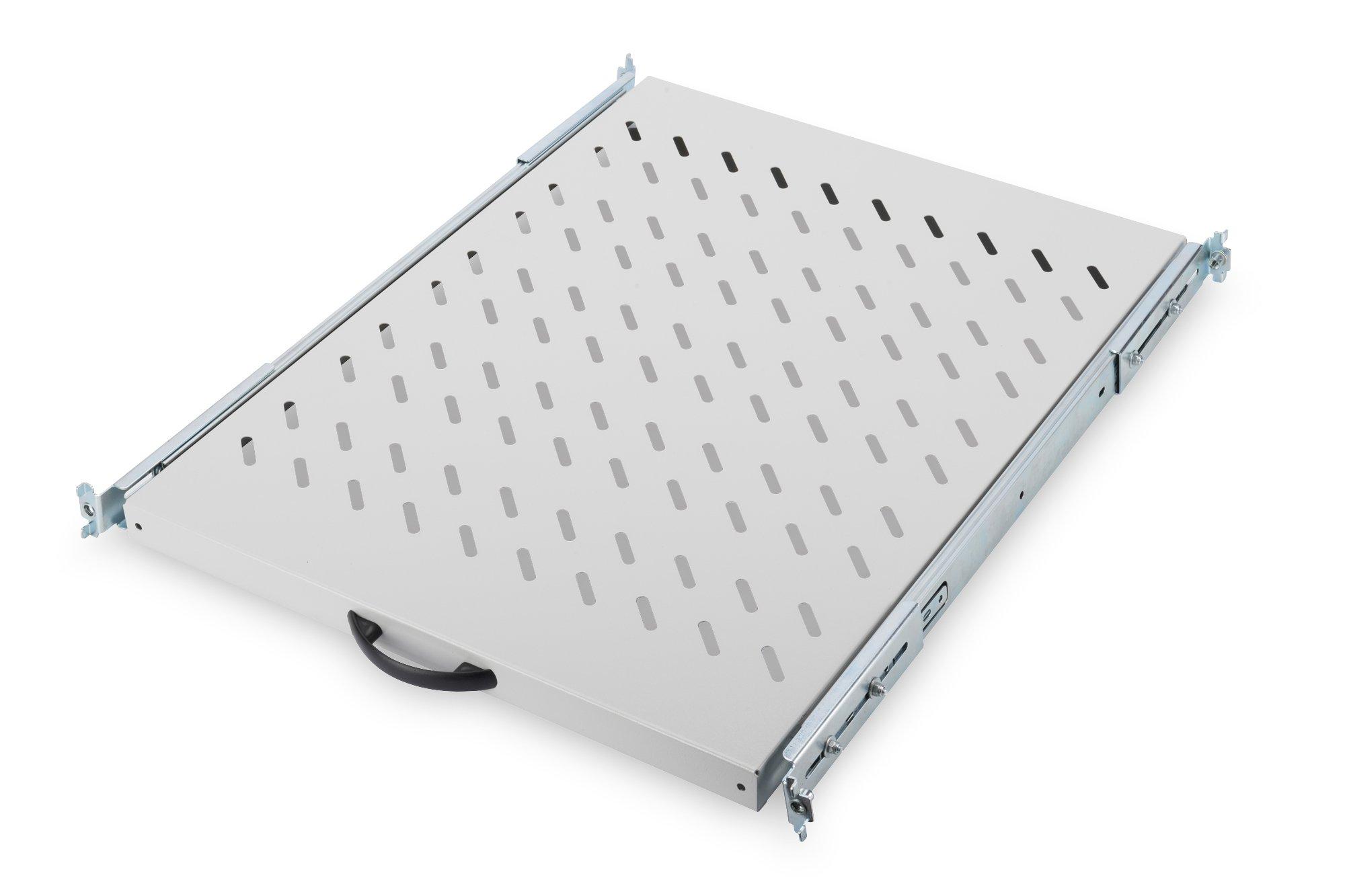 DIGITUS Professional DN-19 TRAY-2-800 - ausziehbarer Fachboden für 19'' Schränke - Befestigung vorne & hinten - Traglast 25 kg - ab 800 mm Schranktiefe - 1HE - Farbe grau