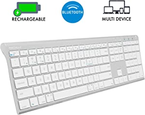 Macally Wireless Bluetooth Keyboard for Mac or PC - Multisync, Simultaneously Connect up to 3 Devices - Rechargeable Mac Wireless Keyboard with 110 Keys, 20 Shortcuts, and Numeric Keypad - Aluminum