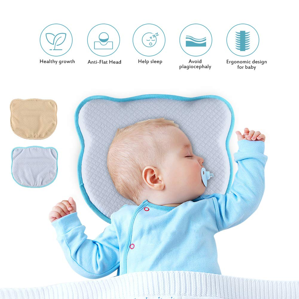 Homvik Baby Pillows for Flat Head and Plagiocephaly Baby Head Shape Pillow with Two Pillowcase Yellow/Blue Newborn Pillow for Baby Girl/Boy Baby First Pillow for Cot Help Sleeping Granbuy