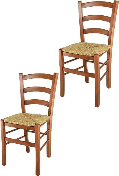 Tommychairs Set 2 sedie modello Venice per cucina bar e sala da pranzo, robusta struttura in legno di faggio color ciliegio e seduta in paglia