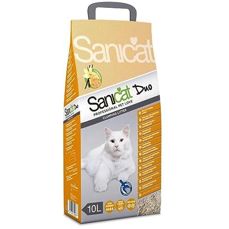 SANICAT Duo Arena Aglomerante para Gatos, Aroma a Vainilla y Mandarina - 10L