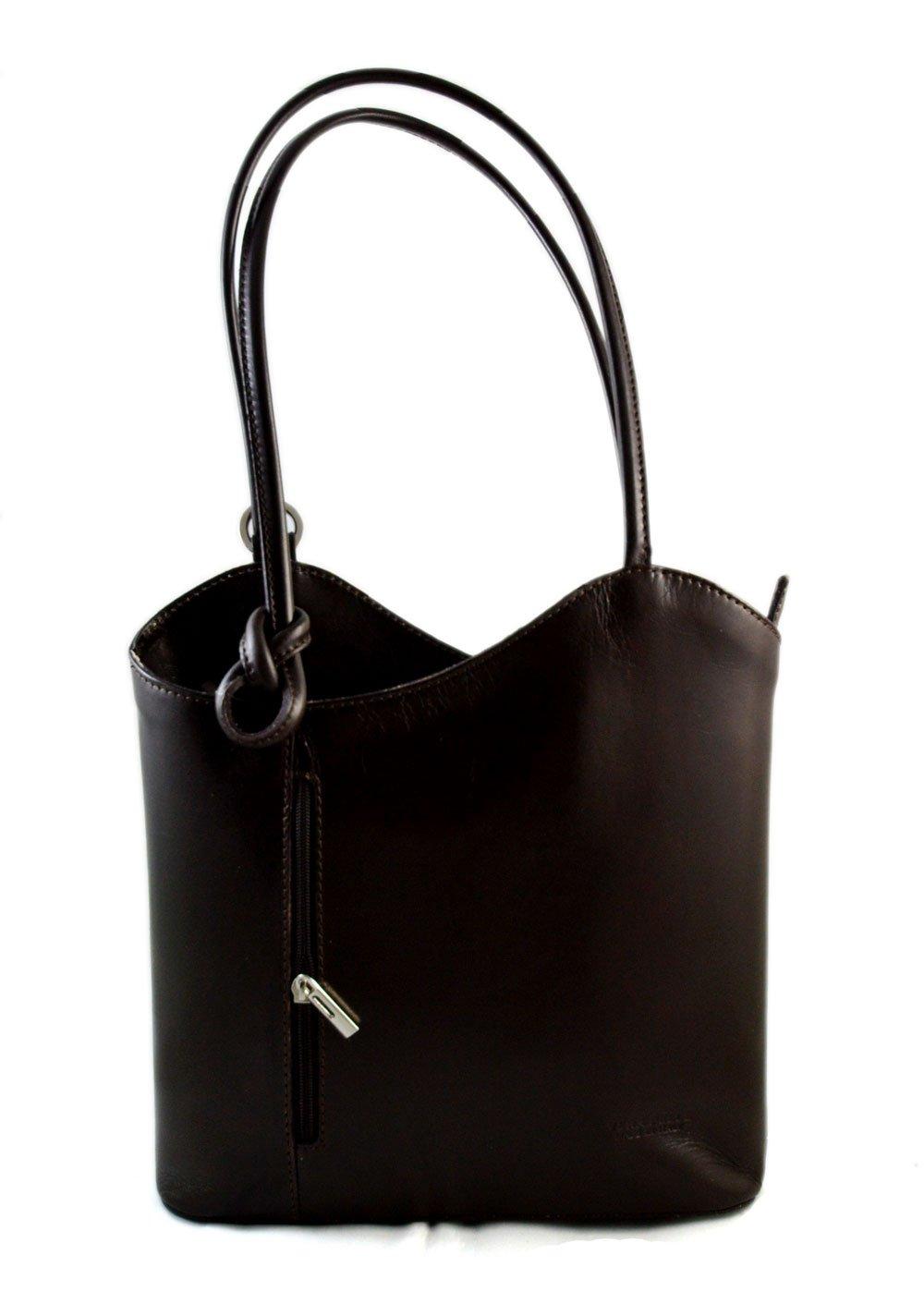 Ladies handbag dark brown leather bag clutch hobo bag backpack crossbody women bag made in Italy
