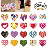 BESTOMZ Valentine Stickers 3 Rolls Heart Stickers with 20 Different Designs for Valentine's Day and More, Pack of 300