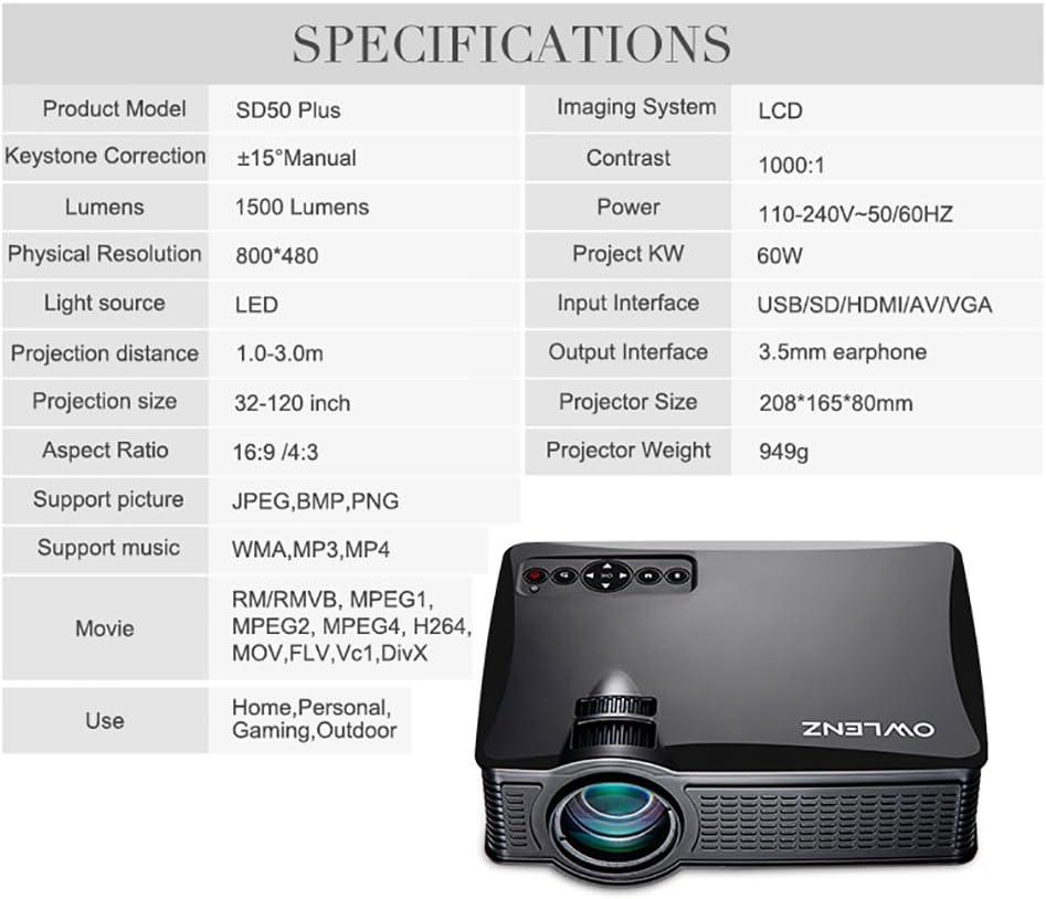 owlenz® LED Mini proyector SD50 cine de casa proyector HD ...