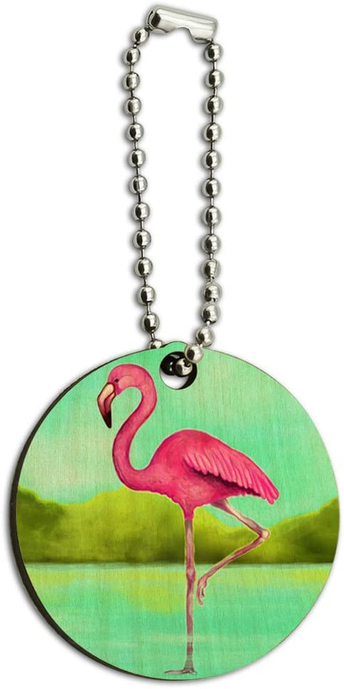 Graphics and More Flamingo Wood Wooden Round Key Chain