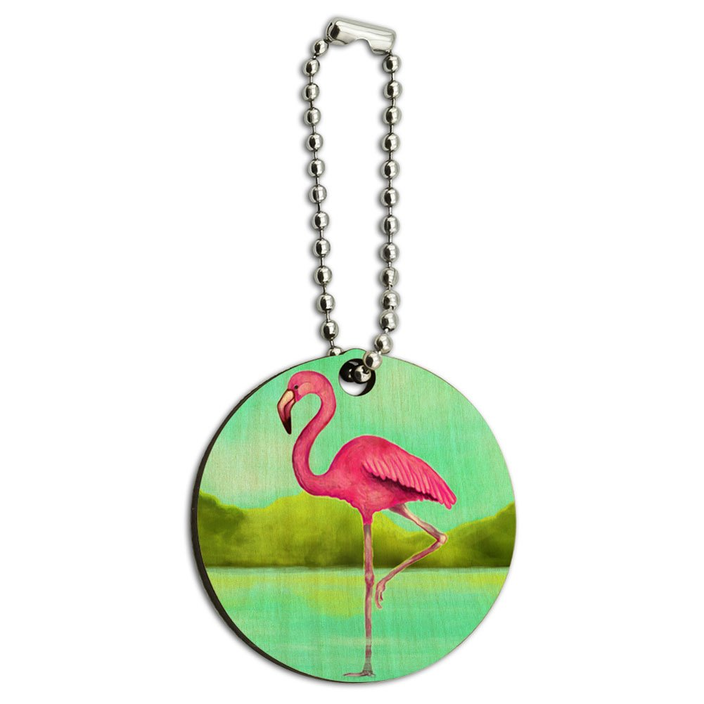 Flamingo Wood Wooden Round Key Chain