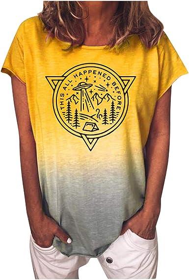 ZODOF Camisetas de Verano para Mujer Camiseta de Manga Corta ...