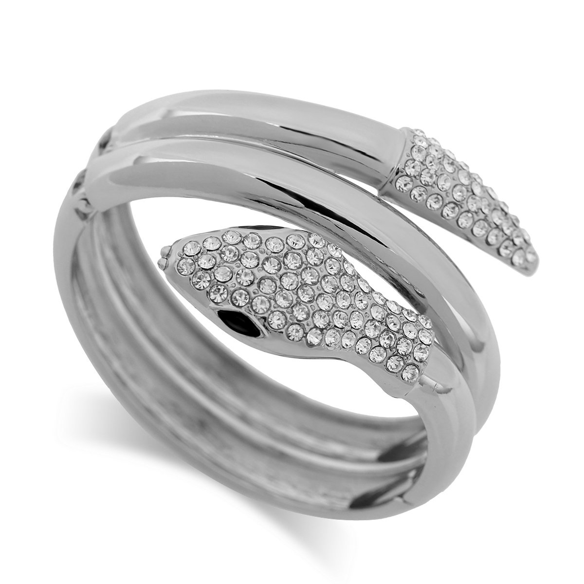 KAYMEN FASHION JEWELLERY Fashionable Inlaid Rhinestones Snake Shape Silver Plated Cuff Bangle for Women