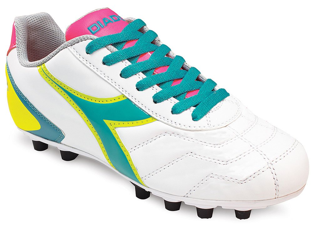 Diadora Women's Capitano Lt MD PU Leather Soccer Shoes (6.5 B(M) US Women's, White/Teal/Yellow/Pink)