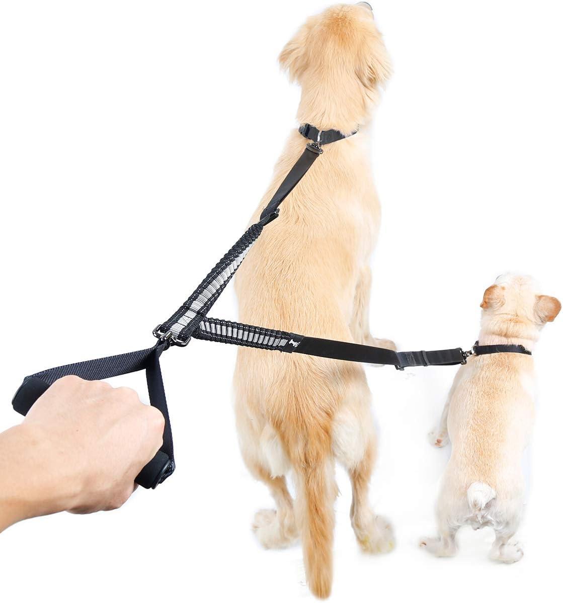 Correa doble, correa para 2 perros, correa extensible y ajustable de 88 cm a 120 cm con un mango suave, correa elástica antigolpes
