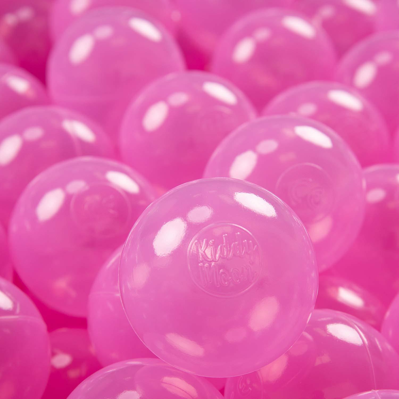 KiddyMoon 700 /∅ 7CM Palline Morbide Colorate per Piscina Bambini Fatto in EU Rosa Trasparente
