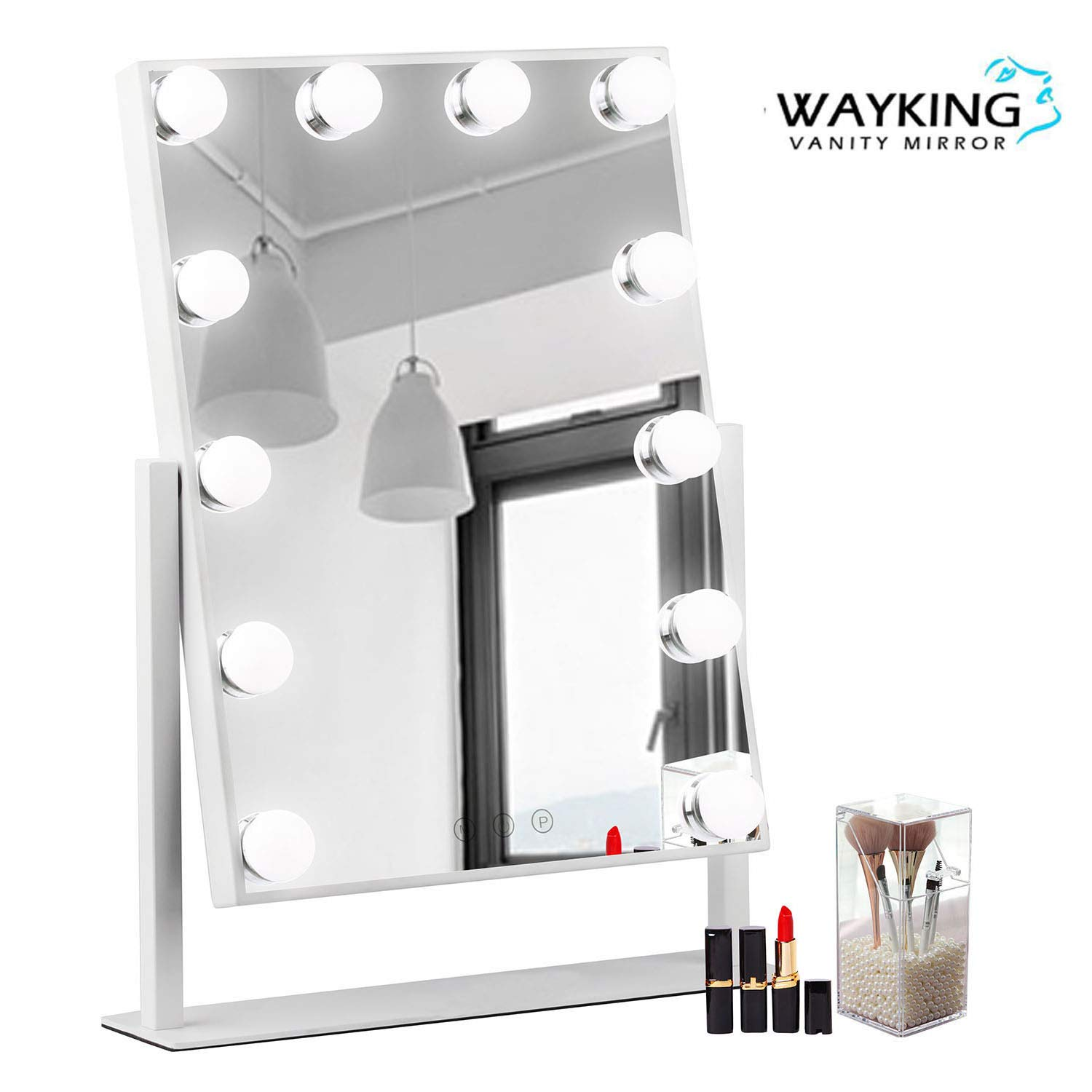 Lighted Vanity Mirror.Wayking Makeup Mirror With Lights Lighted Vanity Mirror With 12 Led Bulbs And Touch Dimmer Rotary