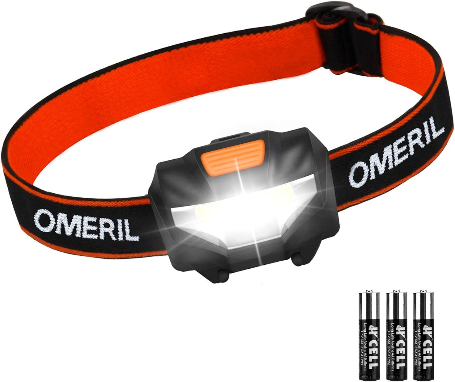 6 x AAA Battery Operated Cycling Hiking Running Included Fishing 2 Packs Super Bright LED Headlamp with 3 Modes OMERIL Headlamp Flashlight Waterproof COB Head Lamp for Kids /& Adults Camping