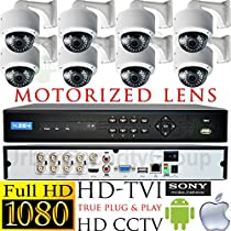 USG Business Grade 1080p 2MP HD-TVI 8 Camera CCTV Kit * 8x Motorized Lens 2.8-12mm Dome Cameras + Wall Mount Brackets + 1x 8 Channel 1080P DVR + 1x 4TB HDD * View On Apple & Android