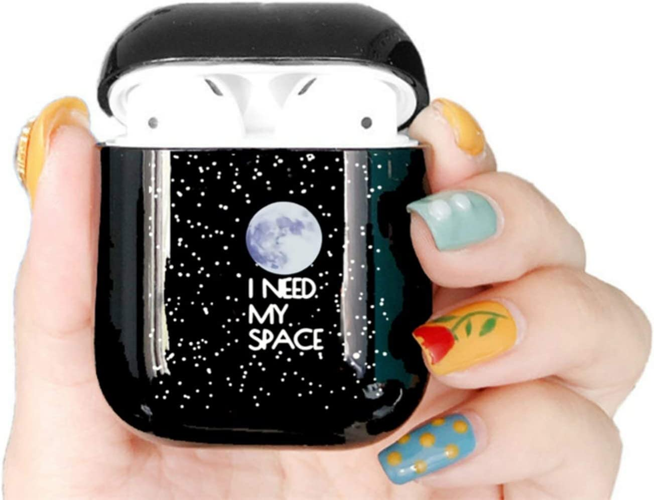 Cute Case for airpods Case Cartoon Space Planets Astronaut Bluetooth Earphone Case for airpods Headphone Black Hard Case,I01012S
