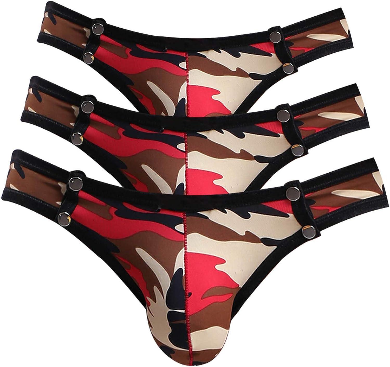 Men/'s Elastic Waist Underwear Slim Fit Thongs Bikini Underpants Stretchy Briefs