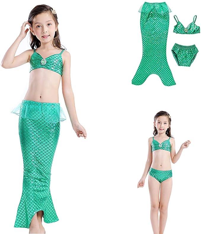 Traje de baño para niñas 3pcs Sirena para Falda Abierta Adecuado ...