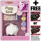 Melissa & Doug Piggy Bank Decorate-Your-Own Kit + FREE Scratch Art Mini-Pad Bundle [88626]