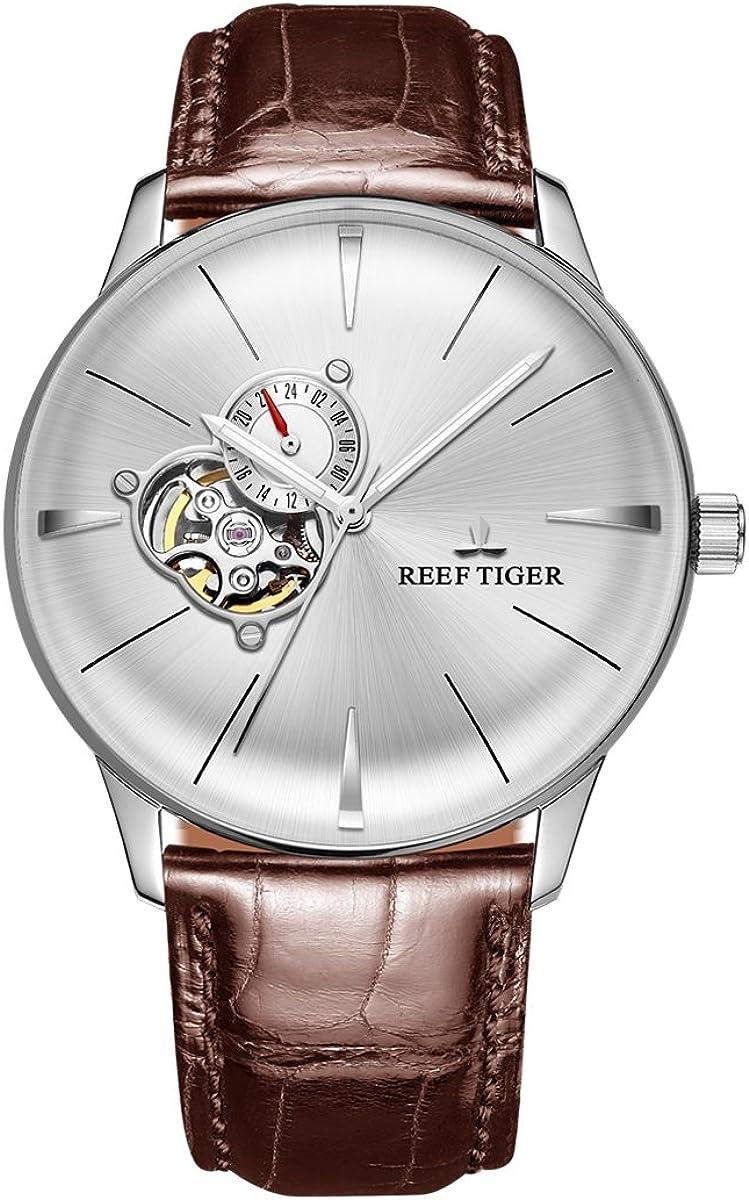 New Reef Tiger ドレスウォッチ メンズ腕時計 アナログ 自動機械腕時計 凸鏡 RGA8239