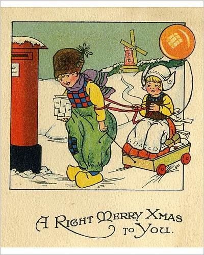 10x8 Print of Christmas Card - Dutch children posting cards (Dutch Boy And Girl Costumes)