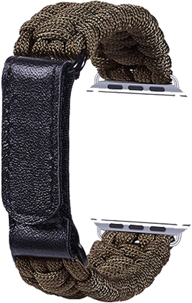 TOPSHION Nylon Braided Watch Strap Braided with Leather Adjustable Clasp Woven Watch Band for iWatch
