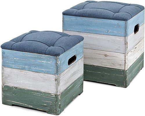 IMAX Delta Wood Crate Ottoman Multicolor Review