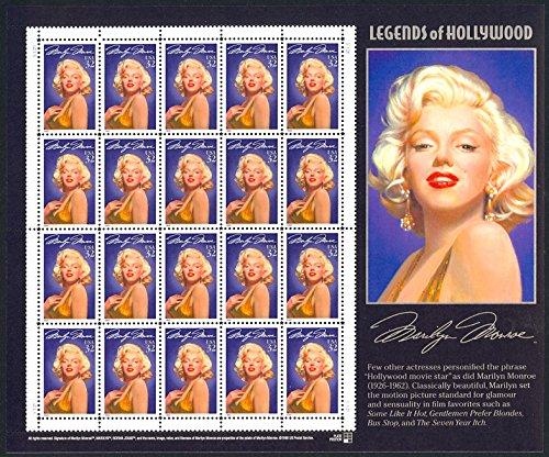 Marilyn Monroe: Legends of Hollywood, Missing Star Perforation, Full Sheet of 20 x 32-Cent Postage Stamps, USA 1995, Scott - Stamp Missing