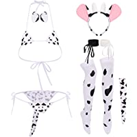 Women Sexy Milk Cow Lingerie Set Anime Maid Cosplay Costume Mini Bikini Bra Bodysuit with Bell Choker Stockings Outfit
