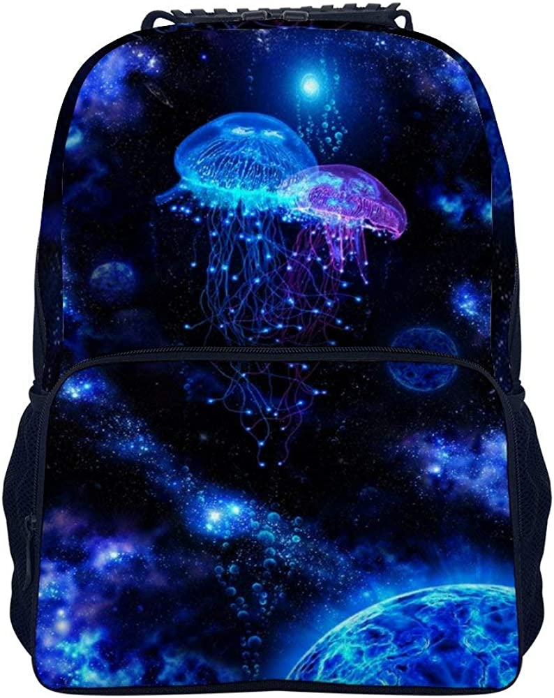 Cosmic Galaxy Under Sea Ocean Jellyfish Rucksacks, Large Capacity Bookbag Travel Hiking Bag & Day Pack, School Daypack Backpack Casual Daypack Climbing Shoulder Bag Laptop Book Bag Rucksack
