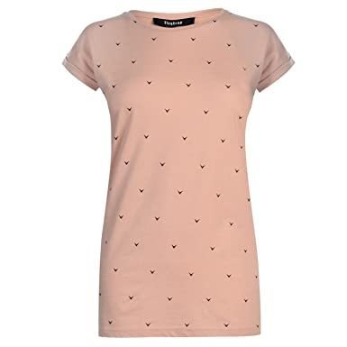 31b95a2ee Firetrap Womens Blackseal Print Boyfriend T Shirt Blush/Black 8 (XS)