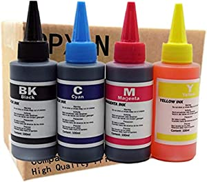 Universal Refill Dye Ink for Canon for for Brother for HP Printer for Reusable Cartridge for CISS Bulk Ink (100ML 1SET 4PCS)